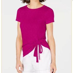 INC Tee T-shirt Ruched Side Burnout Pink Magenta